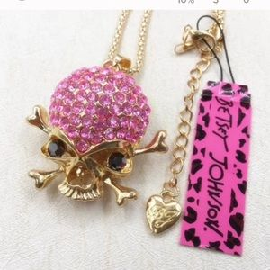 Betsey Johnson pink skull necklace